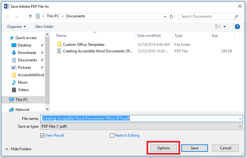 option button for saving as a pdf