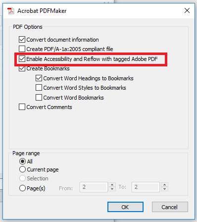 Option: Enable Accessibility and Reflow with tagged Adobe PDF
