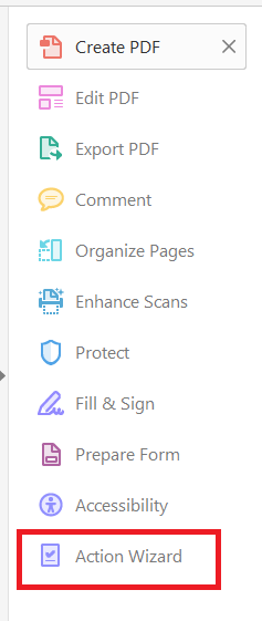 Action Wizard in right sidebar