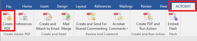 Acrobat ribbon in Word with Create PDF highlighted