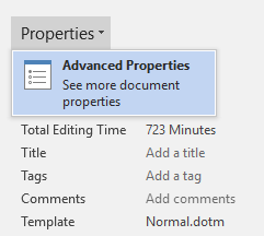 Properties: Advanced Properties dialog box