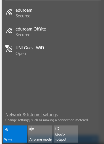 Available SSIDs inclusing eduroam