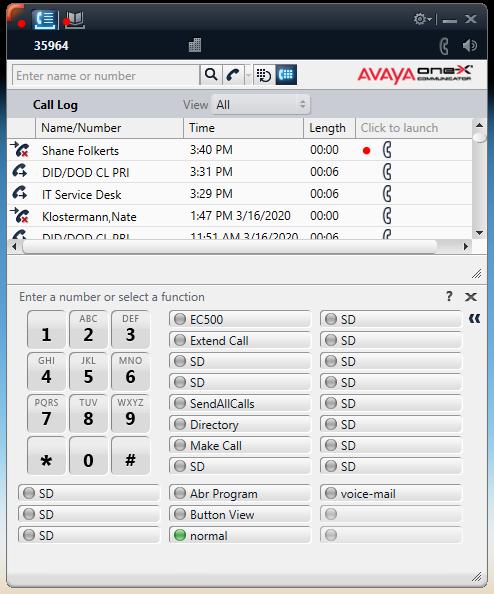 Avaya Show Call Log
