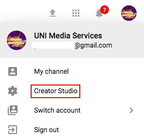 Creator Studio link in YouTube