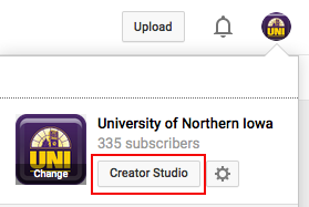 University of Northern Iowa's YouTube Creator Studio