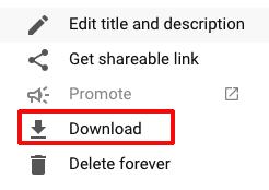 Download option in YouTube Studio