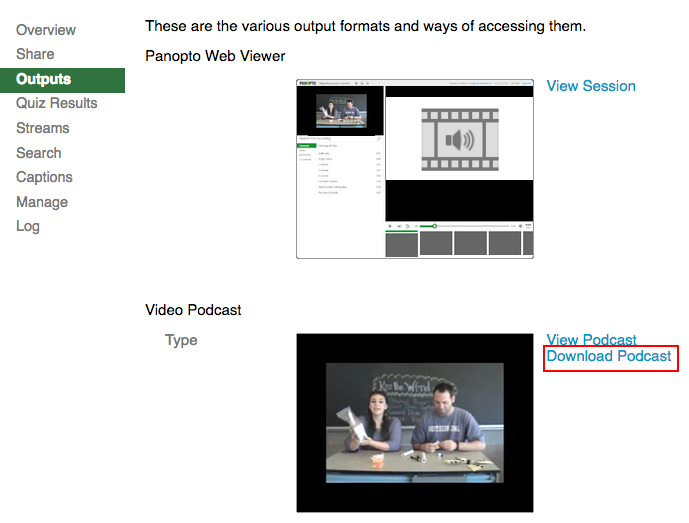 Download Podcast link highlighted in Outputs dialog box