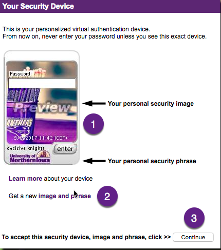 choose your personal security phrase and image