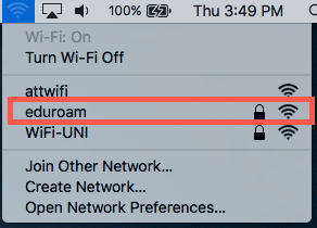 choose the eduroam network from the list
