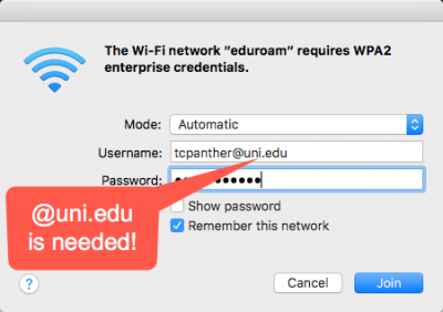 login for eduroam