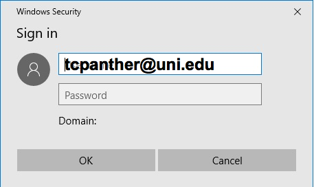 enter username and passphrase and click OK