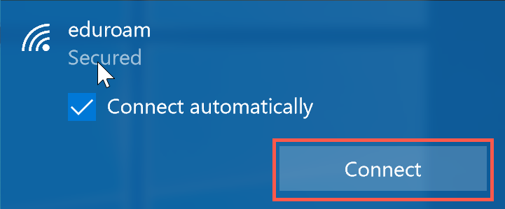 click connect to connect to eduroam