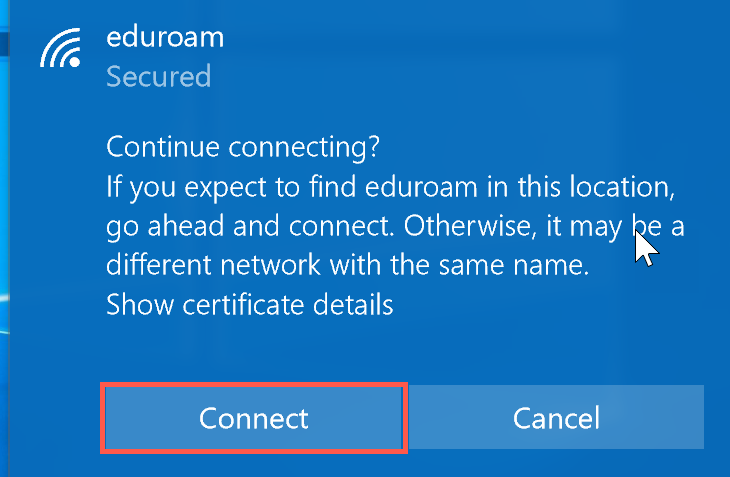 accept the security certificate and click Connect