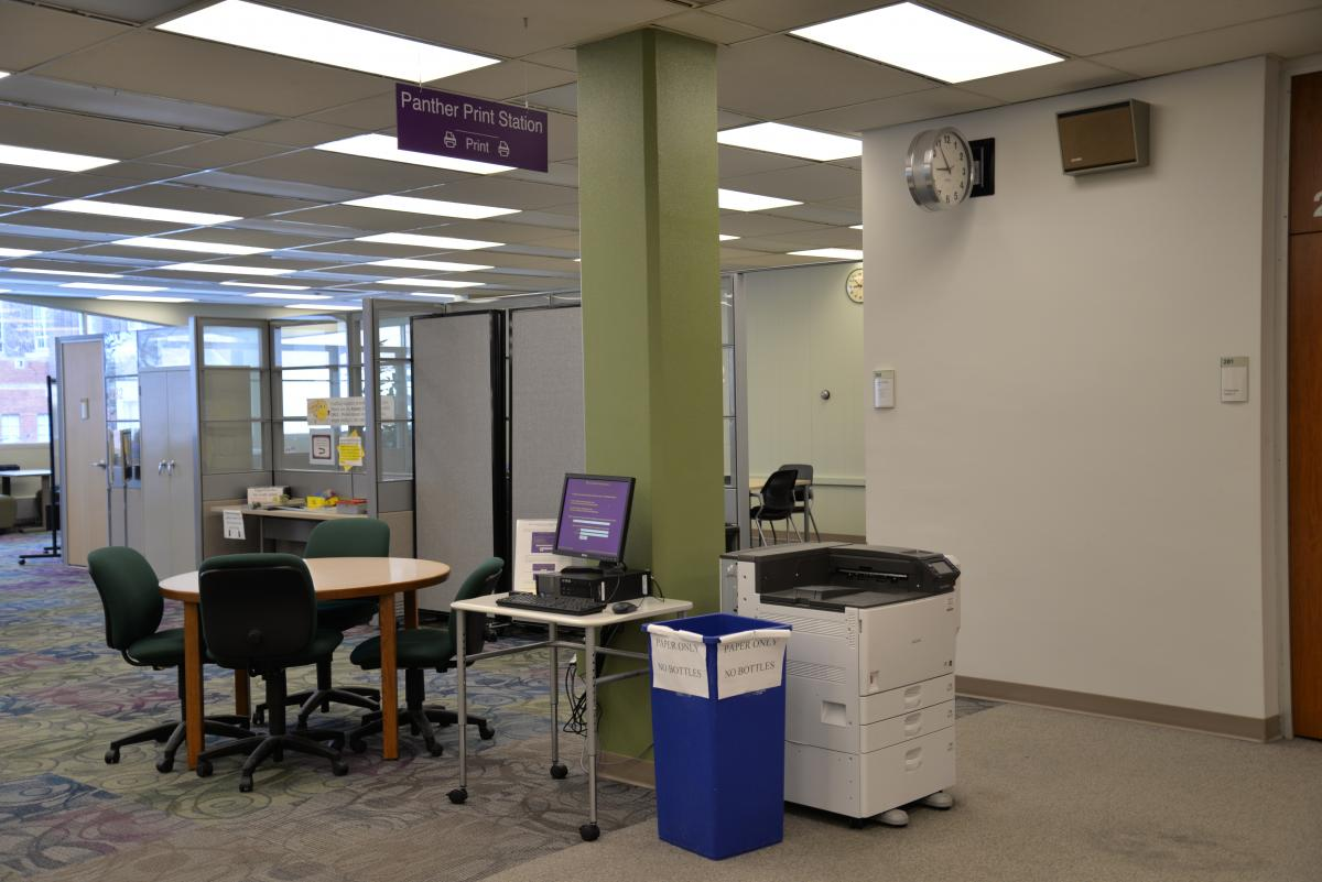 Panther Print Station located in the library.