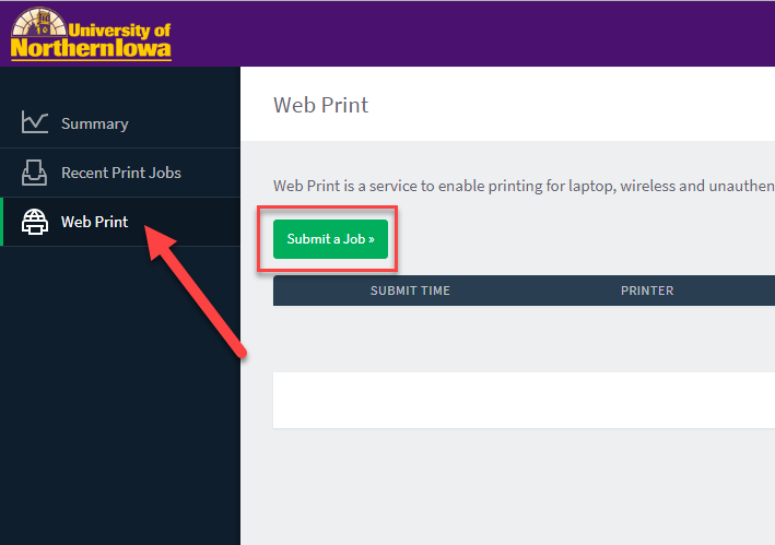 Web Print Portal - Submit a Job