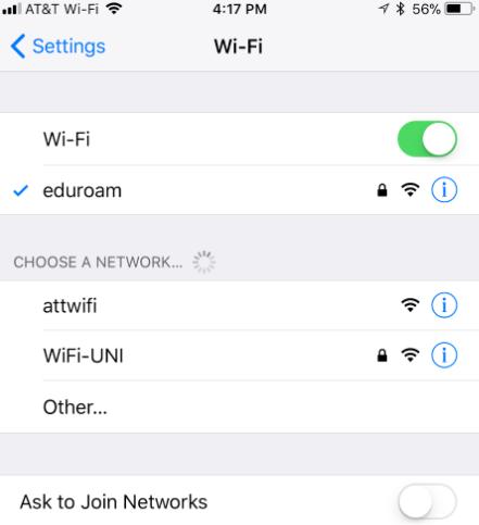 Connect to wifi through eduroam | Information Technology