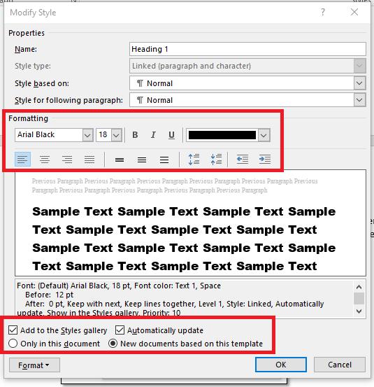 Modify Style dialog box