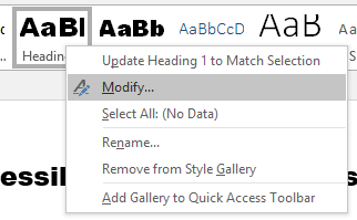 Modify Heading 1 style