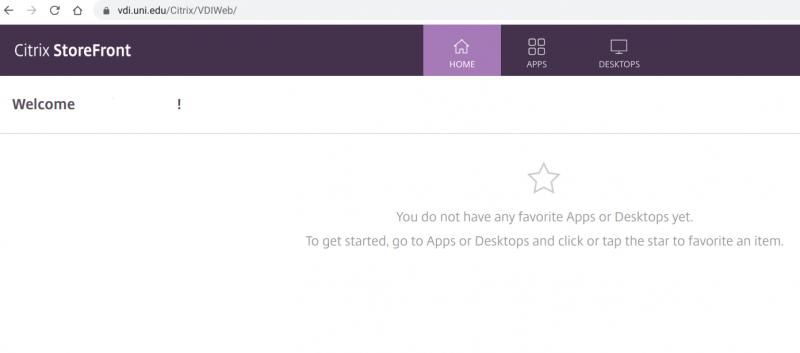 Citrix Storefront page - Apps and Desktops