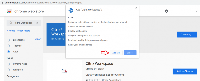 Pop up window to confirm you want to add the app