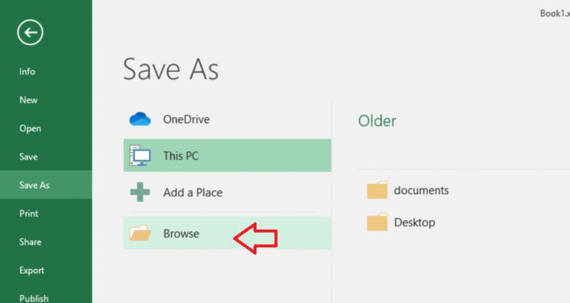 Save As menu - arrow pointing to Browse