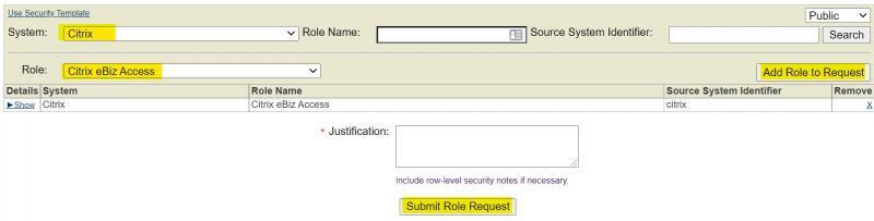 SRS Role Request - System Citrix Role Citrix eBiz Access