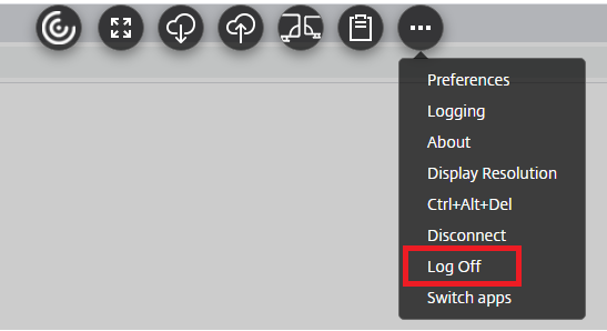 Logoff is the seventh option from the top.