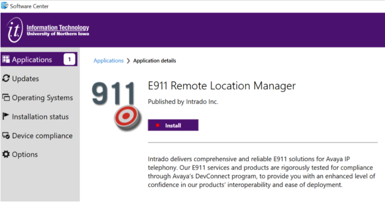 Install E911 RLM from software center.