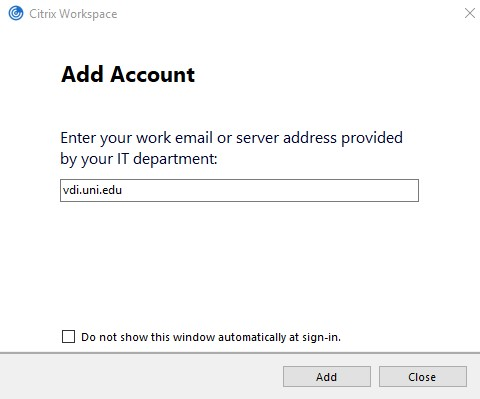 Add vdi.uni.edu as the account.
