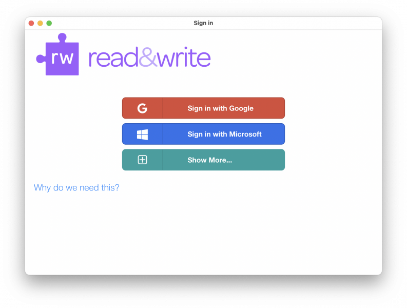 read&write sign-in page