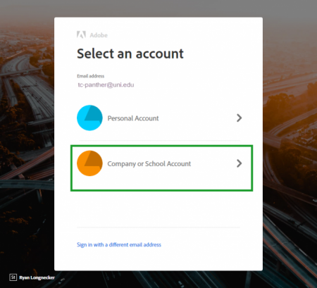 select which type of adobe account to use