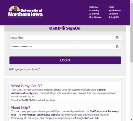 uni catID login screen