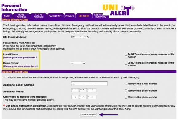 Edit field for UNI Alert information.