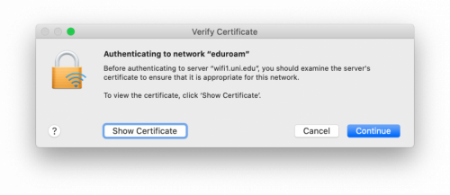 Certificate acceptance prompt.