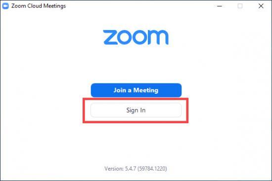 zoom default launch screen click log in