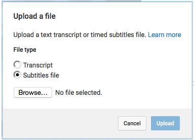 Upload a file- subtitles file