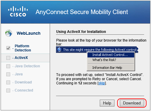 Cisco AnyConnect Window