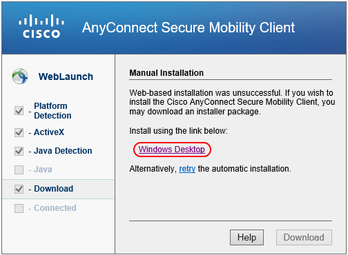 Cisco AnyConnect Manual Installation Window