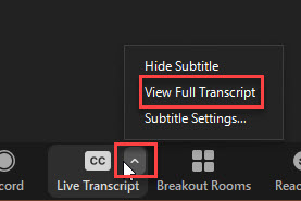 zoom interface showing the option to turn on the view full transcript for the right sidebar interface
