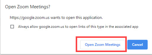 in google chrome click launch zoom meetings